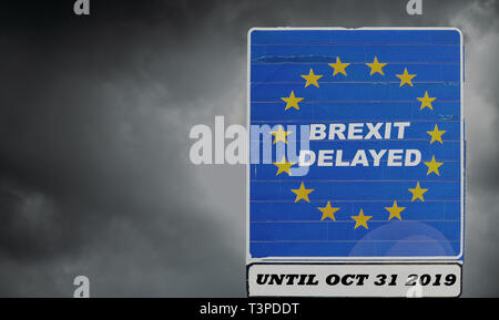 UK is set to extend leaving the EU via Article 50 until October 31st, 2019 - BREXIT. Stormy background concept - Stock Image