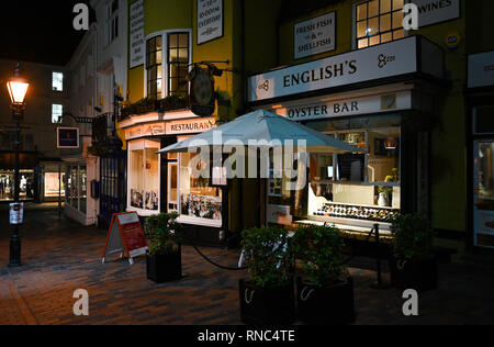 Brighton Views at night - The famous English's restaurant and Oyster bar in The Lanes area - Stock Image