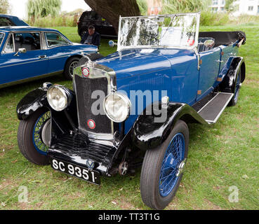 A 1930, P-Type 12 - 40, Lea-Francis on display at the Quay Green Classic Car Meet at the  2018 Sandwich Festival - Stock Image
