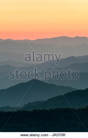 Blue Ridge Mountains from the Blue Ridge Parkway at sunset, Jackson County, North Carolina, United States - Stock Image