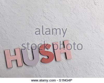 hush (word) - Stock Image