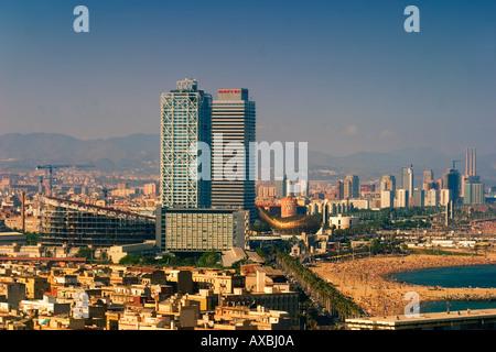 ESP Spanien Barcelona beach Platja de la Barceloneta Hotels Arts - Stock Image