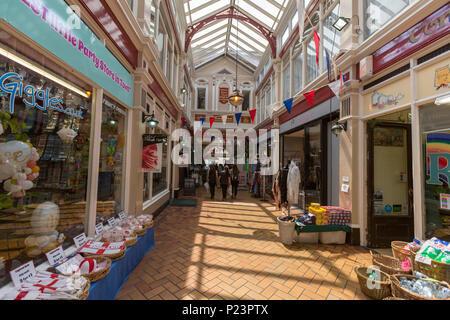 Queens Arcade passage in Hastings, East Sussex, England , UK - Stock Image