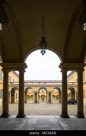 Courtyard of the University of Pavia (Universita di Pavia), c. 1770s-1790s. - Stock Image