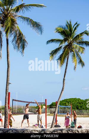 Miami Beach Florida Lummus Park sand beach volleyball net man men woman player sport fitness exercise jumping activity palm tree - Stock Image