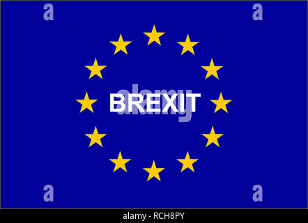 Illustration of the European flag with the mention BREXIT - Stock Image