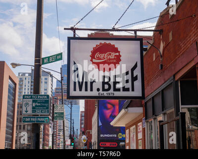 Mr. Beef Restaurant on Orleans, known for their Italian Beef Sandwich. Chicago, Illinois. - Stock Image