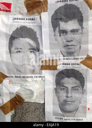 Guerrero State, Mexico. 15th Nov, 2014. Portraits of missing students Jorge Alvarez Nava painted with red paint - Stock Image