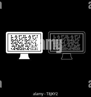 Screen with the scheme Technology concept icon outline set white color vector illustration flat style simple image - Stock Image