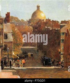 Work by Childe Hassam . before 1935 137 Hassam - mount-vernon-street-boston - Stock Image