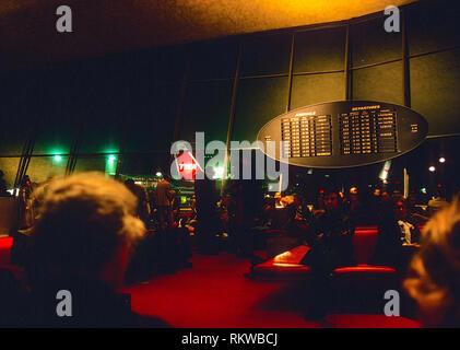 waiting area with arrivals and departures board, TWA terminal, JFK airport, New York, USA - Stock Image