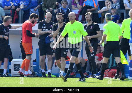 Lincoln City manager Danny Cowley reacts as Lincoln City's captain Jason Shackell is sent off by Match referee Lee Mason during the Sky Bet Championship match at Brunton Park, Carlisle. - Stock Image