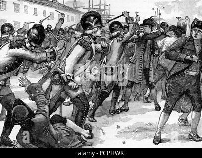 Affray at Boston Between Soldiers and Rope Makers; Illustration from Cassell's History of England, King's Edition Part 33 - Stock Image