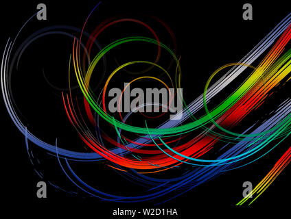 The black background is covered with bright swirling rainbow stripes in red, yellow, green and blue - ultramarine  shades - Stock Image