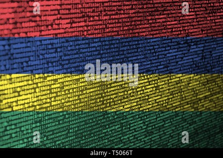 Mauritius flag  is depicted on the screen with the program code. The concept of modern technology and site development. - Stock Image