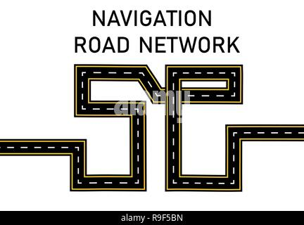 Road. Highway stylized inscription 5 g. illustration - Stock Image