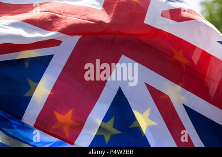 London, UK. 23 June 2018.Anti-Brexit march and rally for a People's Vote in Central London. The yellow stars of the European Flag shining through the Union Flag. - Stock Image