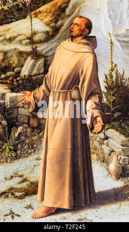 Giovanni Bellini, St Francis of Assisi from Saint Francis in the Desert, painting, c. 1480 - Stock Image