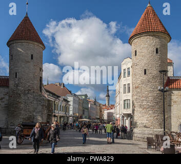 Viru Gate in the Old Town district of the city of Tallinn in Estonia. - Stock Image