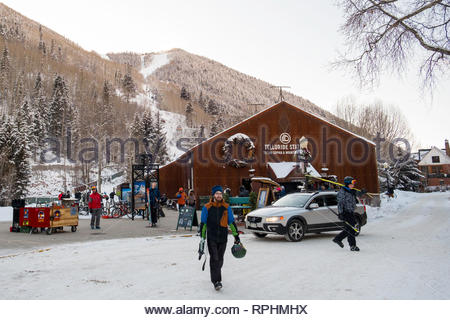 Telluride Station for the Free Gondola, a free public transportation system connecting Mountain Village with the town of Telluride, - Stock Image