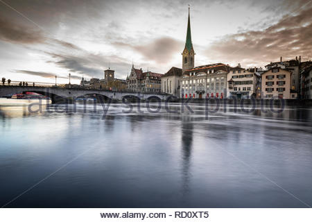 Zurich, Switzerland - view of the old town with the Limmat river - Stock Image