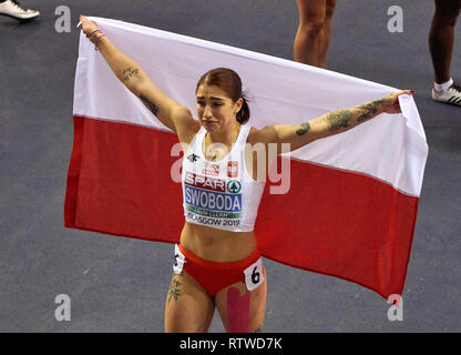 Glasgow, UK: 2st March 2019: Ewa Swoboda wins gold in 60m race on European Athletics Indoor Championships 2019.Credit: Pawel Pietraszewski/ Alamy News - Stock Image