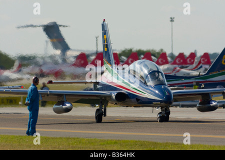 Aermacchi MB 339PAN Italia of Italian Air Force Frecce Tricolori aerobatic group taxi during Air show in Kecskemét - Stock Image