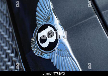 Monte-Carlo, Monaco - June 16 2019: Famous Bentley Winged 'B' Logo (Emblem) On The Bonnet Of A Luxury British Black Car At Monte-Carlo, Monaco. Closeu - Stock Image