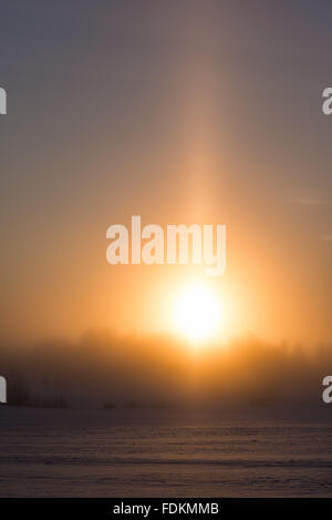 Sunrise in cold and misty winter morning - Stock Image