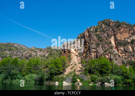 a view of the Ebro River as it passes through Benifallet, Spain - Stock Image