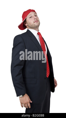 businessman with cap on isolated background - Stock Image