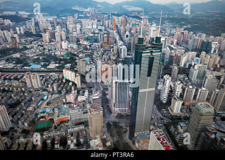 Aerial city view from the top of KK100 (Kingkey 100) skyscraper. Luohu District, Shenzhen, Guangdong Province, China. - Stock Image