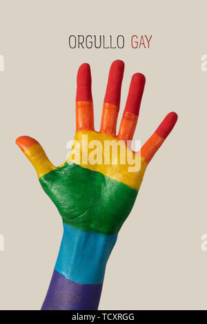 closeup of the palm of the hand of a person, painted as the rainbow flag, and the text orgullo gay, gay pride written in spanish, against an off-white - Stock Image