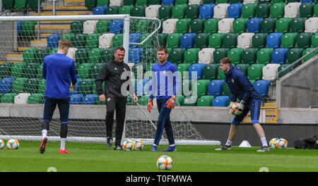 Windsor Park, Belfast, Northern Ireland.20 March 2019.Northern Ireland training in Belfast this morning ahead of their UEFA EURO 2020 Qualifier against Estonia tomorrow night in the stadium. (L-R) Bailey Peacock-Farrell, Steve Harper, Michael McGovern and Conor Hazard. Credit: David Hunter/Alamy Live News. - Stock Image
