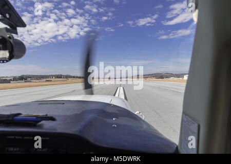 Takeoff In Small Prop Plane - Stock Image