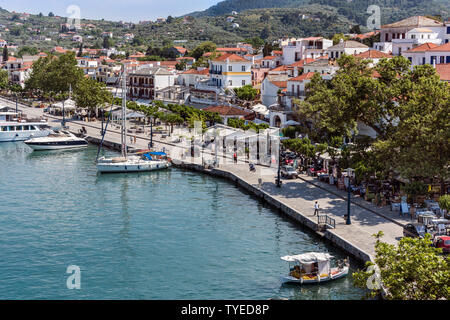 Skopelos Harbour Front, Northern Sporades Greece. - Stock Image