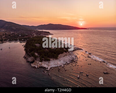 Sunrise aerial view of Aliki beach and ancient marble port - Stock Image