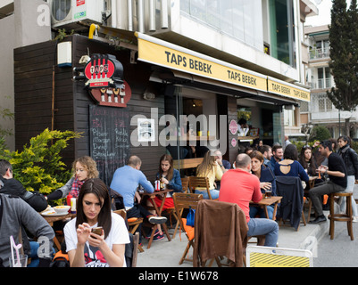 Taps Bebek bar and restaurant in Istanbul Turkey - Stock Image
