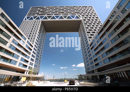 The highest and newest residential tower of Amsterdam 'The Pontsteiger'   Highlights of Amsterdam - Stock Image