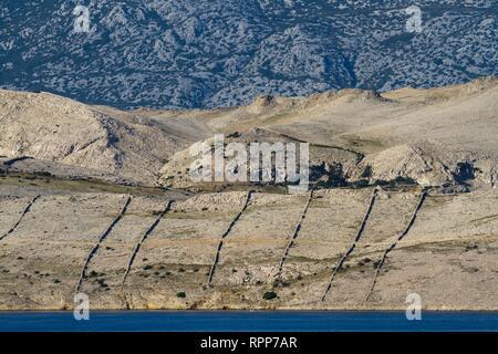 Rough terrain mountains near Metajna on Pag island Dalmatia Croatia - Stock Image
