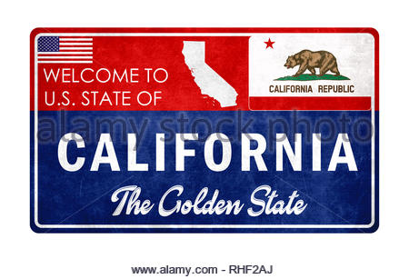 Welcome to California - grunge sign - Stock Image