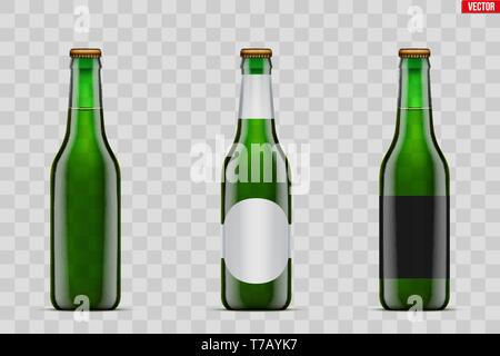Mockup set of Craft beer bottle. Green glass. Mock-up design for Individual and home brewery. Handcrafted beer. Vector Illustration isolated on transp - Stock Image