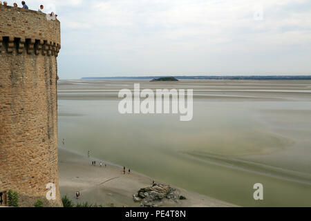 View of Tour du Nord from the Ramparts, Le Mont Saint Michel, Manche, Normandy, France, Europe - Stock Image