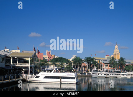 Miami Beach FL Florida Bayside South Beach Boats at anchor in marina - Stock Image