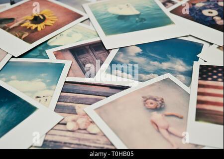 background of Polaroids photos - Stock Image