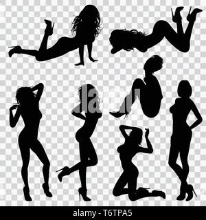 Silhouettes Sexy Girl - Stock Image