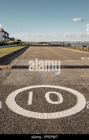 !0 Mile per hour Speed Limit, Sandwich Bay, Kent,UK - Stock Image