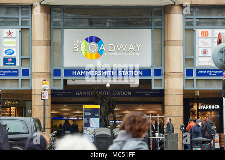 Entrance to Broadway Shopping Centre, where one of the access points to Hammersmith Station is located. - Stock Image