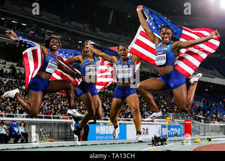 YOKOHAMA, JAPAN - MAY 12: Mikiah Brisco, Aleia Hobbs, Dezerea Bryant and Ashley Henderson of the USA celebrate after they won the women's 4x100m relay final during Day 2 of the 2019 IAAF World Relay Championships at the Nissan Stadium on Sunday May 12, 2019 in Yokohama, Japan. (Photo by Roger Sedres for the IAAF) - Stock Image