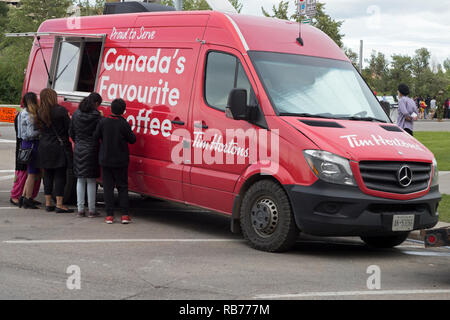 Tim Horton's coffee truck on Canada Day - Stock Image